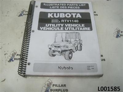 Kubota Utv Illustrated Parts List For Model Rtv 1140 97898