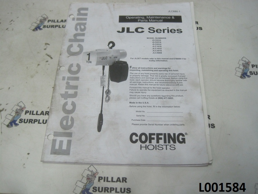 coffing jlc series electric chain hoist manual jlc680 1 rh pillarsurplus com Wiring Coffing Diagram Hoist Ec2004.4 Hoist Chain Container Safety Cable