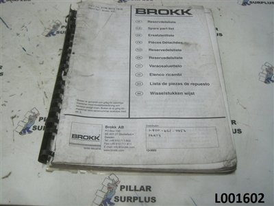 Brokk 90C Spare Parts Manual 3136-8012-75G