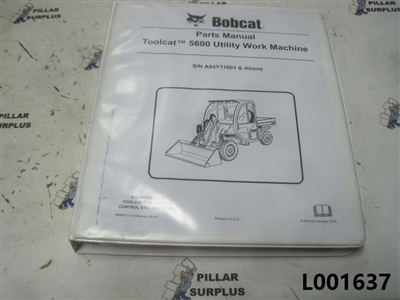 Bobcat Toolcat 5600 Utility Vehicle Parts Manual S/N A94Y11001-up  6990051
