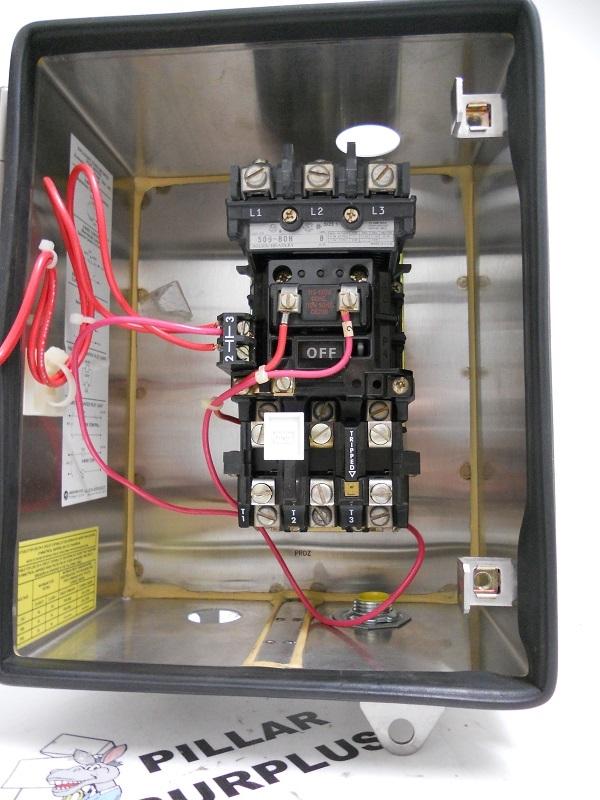 Allen bradley stainless steel enclosure with motor starter for Allen bradley manual motor starter