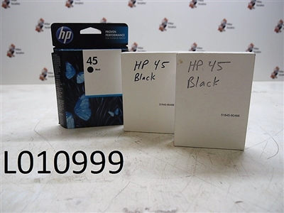 HP 45 Black Ink Jet Cartridges (1 Lot of 3 pkgs)